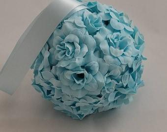 "5"" Baby Blue Wedding Pomanders, Toddler Flower Ball, Wedding Flower Balls, Flower Girl Kissing Ball,  Bouquet Alternative"