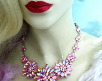 Rhinestone Austrian Crystal Choker Necklace Earring AB Pink Pageant Bridal Prom
