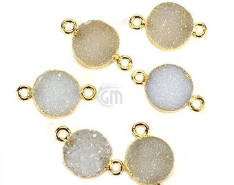 4th July 30% OFF 22k Gold Electroplated White Druzy Connector, 10mm Round Shape Druzy Gemstone Connector Pendant 1pc (WEZ-11155)