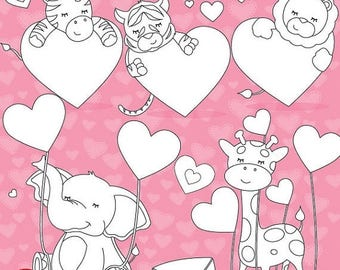 80% OFF SALE Valentine animals digital stamp commercial use, vector graphics, digital stamp  - DS630