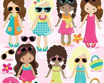 80% OFF SALE Summer girls clipart commercial use, fashion girls vector graphics, girl digital clip art, dress digital images  - CL984