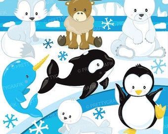 80% OFF SALE Arctic animal clipart commercial use, polar bear vector graphics, penguin digital clip art, digital images  - CL783