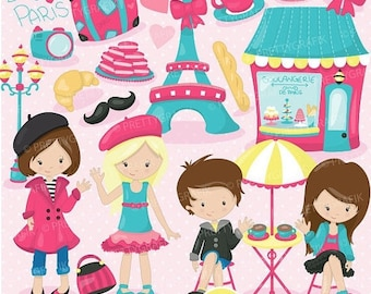 80% OFF SALE paris travel clipart for scrapbooking, commercial use, vector graphics, digital clip art, images - CL718