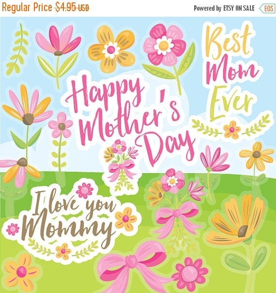 80 off sale mothers day clipart commercial use flowers vector il570xn mightylinksfo Gallery
