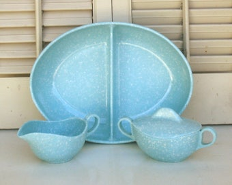 Vintage Melmac Blue Creamer and Sugar plus Divided Serving Bowl