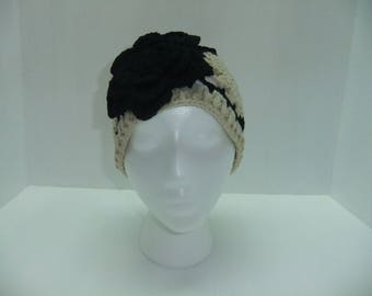 Knit Hat with Black Flower, Cream and Black