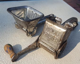 Pair of Moulin Legumes Garlic Press Grater Sifter Tin Kitchen Utensils Rustic Farmhouse Collectibles Made in France Embossed Lettering