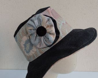 Right hat in gray and pink quilted fabric and wool