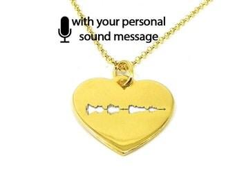 Sterling silver soundwave cut necklace gold plated,waveform necklace,custom sound wave pendant, waveform on heart, sonogram ultrasound