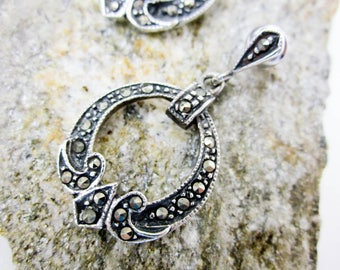 Antique Earrings, Art Deco Marcasite Earrings, Sterling Silver, Dangling Hoop, Drop Earrings, Vintage 1920s Post Earrings, Formal Earrings.
