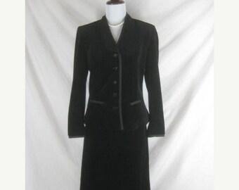 On sale 1950s 1960s Black Velvet Womens Vintage 2 Piece Skirt Suit W 30