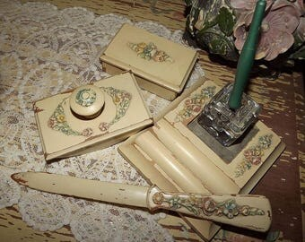 Antique Vintage Early Ladies BARBOLA DESK Writing Accessories SET