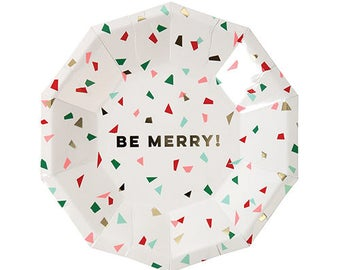 Small Be Merry Christmas Plates | Confetti Christmas Plates | Christmas Party Plates | Christmas Confetti Plates | Christmas Paper Plates