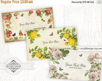 ON SALE Roses Vintage ATC\Business Cards. Set of 3. 5.6x9.6 cm. Digital Collage Sheet. Instant Download.