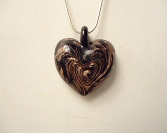 "Lovely Vintage Murano Art Glass Heart Pendant Necklace Black/Gold On 925 Sterling 18"" Chain Like New"