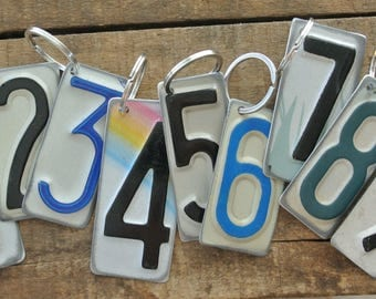 License Plate Key Chains, UPcycled, Number 0,1,2,3,4,5,6,7,8,9, Made from Authentic Plates,Repurposed, Signs as available by UPcycled Works.