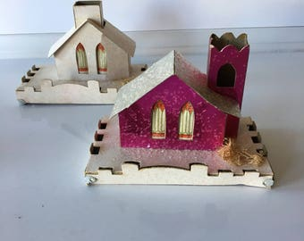 Pink and White Putz House Set