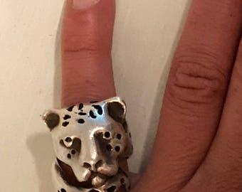 Huge vintage sterling ring tiger