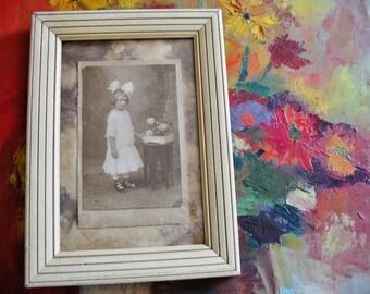 Vintage Framed 1920s Victorian Flower Girl Sepia Tone Photograph Wall Art 8x11