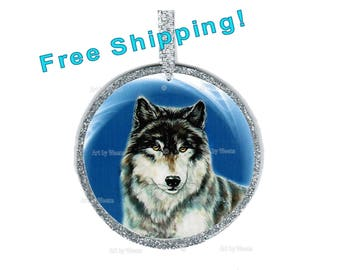 Wolf Ornament, Wolf Art, Wolf Gift, Tree Ornament, Wolf Picture, Wolf Lover Gift, Christmas Ornament, Stocking Stuffer, Wolves, Ships Free!