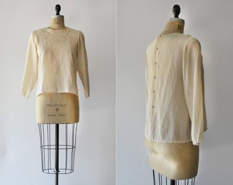 Morning Rays Blouse / 1980s silk beaded blouse / vintage cream embroidered top