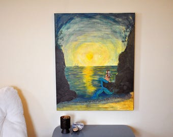 "Mermaid Painting - Pirate Ship Passing - 24x30x1 1/2"" Gallery Canvas - Original Acrylic Painting"