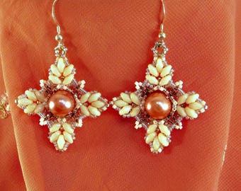 Beaded Rose and Ivory Floral Earrings