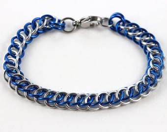 Persian Chainmaille Bracelet   Hand Crafted Chainmaille Jewelry   Handmade Bracelet   Blue and Silver   Anodized Aluminum