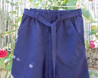 Girls Navy Blue crepe shorts elastic waist and belt