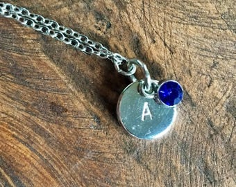 Personalized Birthstone Initials Necklace