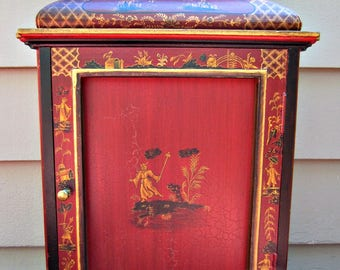 Vintage Asian Red Chinoiserie Cabinet Shelves Pagoda Top Hand Painted Nice!
