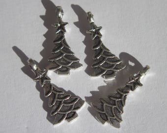 4 charms 23 mm silver metal Christmas tree (6210)