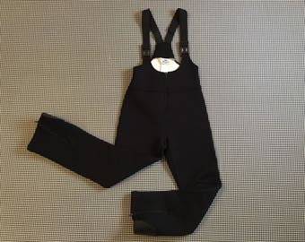 Black, stretchy, suspender, ski pants, Women's size XS