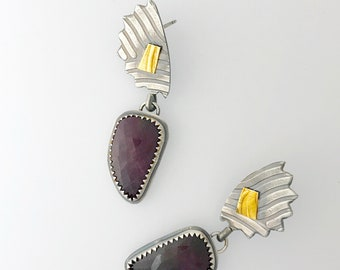 Plum  Sapphire and Silver LotusEarrings