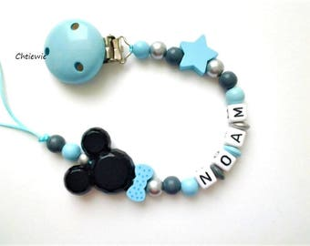 Pacifier chain - pacifier clip - baby boy gift - baby shower gift - beaded pacifier chain - baby accessory - baby boy- dummy chain