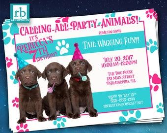 PRINTED Puppy Party Invitation, Puppy Birthday, Puppy Birthday Invitation, Puppy Party Invites, Dog - Printed Party Invitations w/ Envelopes