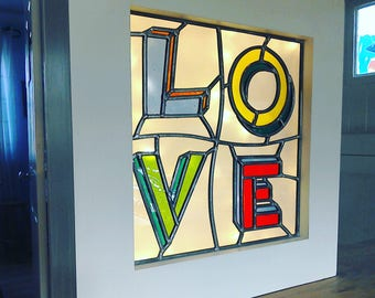 LOVE stained glass  lightframe.