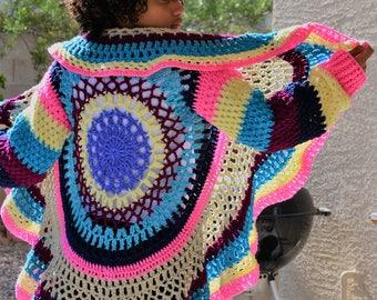 Crochet Mandala Sweater/Circular Cardigan/ Crochet Sweater