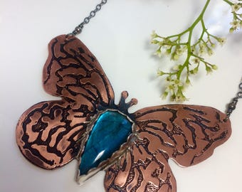 Butterfly Hand Etched copper and sterling silver necklace