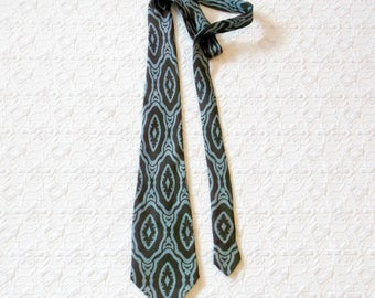 Vintage Brown Blue Silk Damask Made in Paris Tie