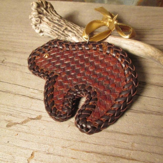 Little Bear Tooled Leather Ornament