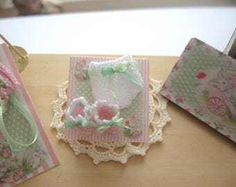 dollhouse baby doll booties and pants set knitted clothes  12th scale miniature