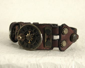 421 Steampunk Sundial Burning Man Boho Industrial Bracelet