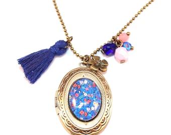 Locket Necklace blue and pink floral photo holder