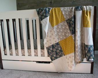 Floral/Mustard Woodland Patchwork Blanket