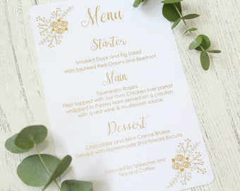 Personalised Floral Design Wedding Menu for Wedding Reception/Breakfast in Gold/Silver/Rose Gold/Champagne Gold/Copper/Colour Foils