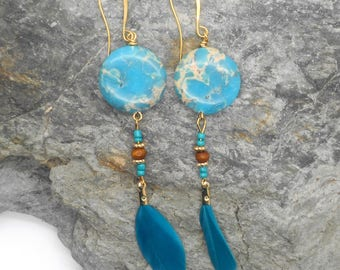 Blue Feather Earrings - Blue Beaded Feather Earrings, Dangle Earrings, Blue Sea Sediment