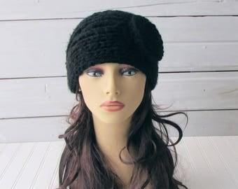 Black Hand Knit Headband Ladies Teen Knit Headband Earwarmer with Flower Button Headband Black Headwrap Ladies Earwarmer