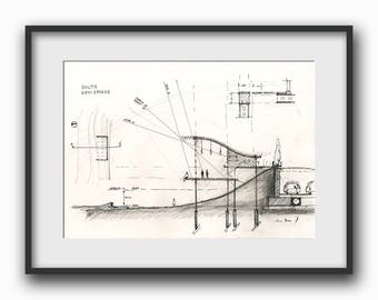 Architectural drawing - technical section plan drawing - architect technic illustration - art Print from an original by Juan Bosco
