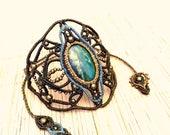 Bracelet Macrame Chrysocolla Gemstone arm wrist band. Unique Gift idea for wife Anniversary, Tribal Gypsy Gothic Fashion boho chic